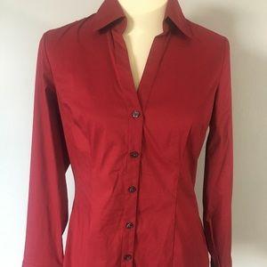 Express Women's Button Down Shirt - Red